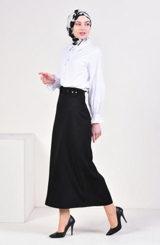 Belt Detailed Pencil Skirt  0412-06 Black 0412-06