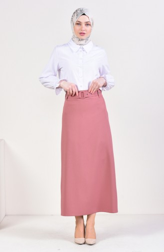 Belt Detailed Pencil Skirt 0412-05 Dried Rose 0412-05