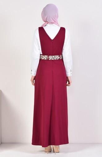 Belted Salopette Gilet Dress 5583A-02 Plum 5583A-02