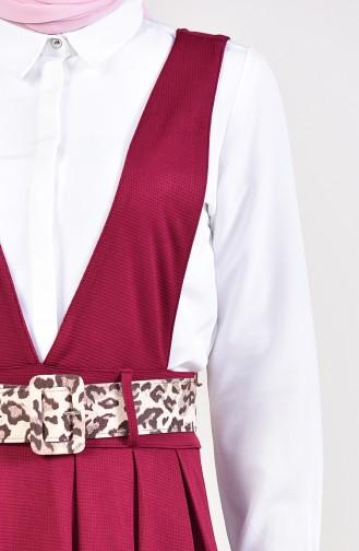 Salopet Gilet Kleid mit Gürtel 5583A-02 Zwetschge 5583A-02