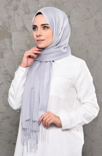 Plain Pashmina Shawl 901472-02 Light Gray 901472-02