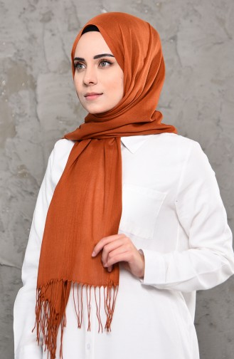 شال باشمينا بتصميم سادة  901472-06 لون عسلي 901472-06
