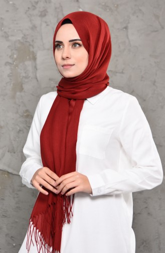 Plain Pashmina Shawl 901472-10 Claret Red 901472-10