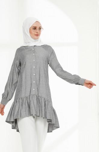 TUBANUR Cotton Asymmetric Tunic 9011-01 Black 9011-01