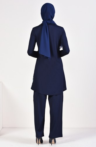 Fitilli Tunik Pantolon İkili Takım 0614-02 Lacivert