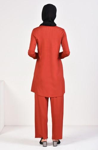Fitilli Tunik Pantolon İkili Takım 0614A-04 Kiremit 0614A-04