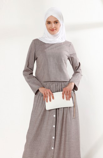 Pamuklu Etek Bluz İkili Takım 5018-01 Bordo
