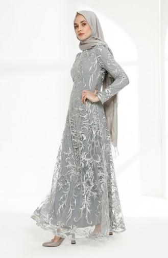Lace Overlay Evening Dress 7238-02 Gray 7238-02