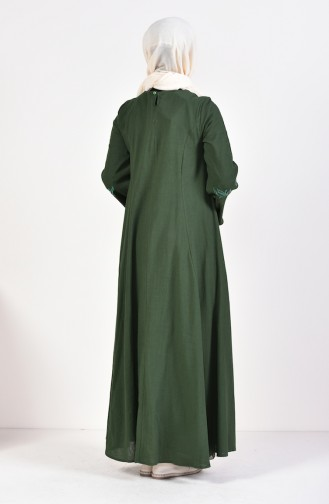 Gauze Fabric Embroidered Dress 0700-01 Green 0700-01