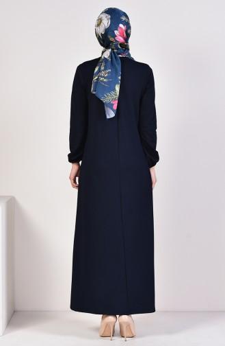 Kolyeli Basic Elbise 5256-02 Lacivert