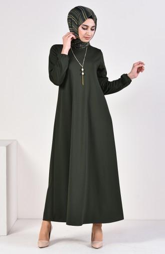 فستان سادة بتصميم مُزين بقلادة 5256-03 لون أخضر كاكي 5256-03