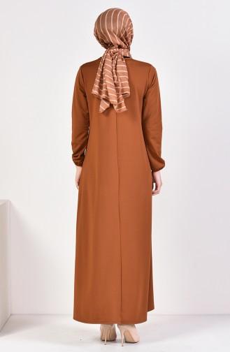فستان سادة بتصميم مُزين بقلادة  5256-04 لون عسلي 5256-04