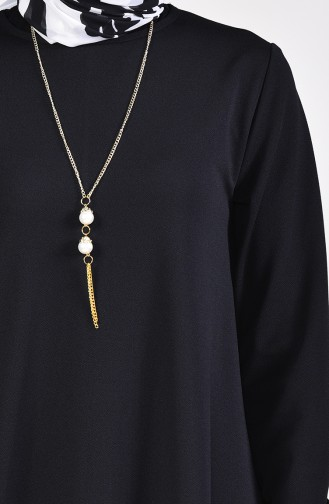 Kolyeli Basic Elbise 5256-05 Siyah 5256-05
