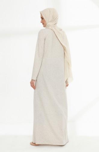 فستان بتفاصيل مطرزة 5011-06 لون بيج 5011-06