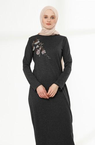 Nakış Detaylı Elbise 5011-10 Antrasit