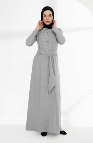 Kemerli Polo Yaka Elbise 5048-03 Gri