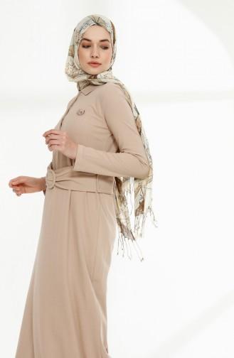 Kemerli Polo Yaka Elbise 5048-07 Bej