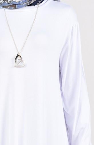 Kolyeli Tunik 7815-05 Beyaz