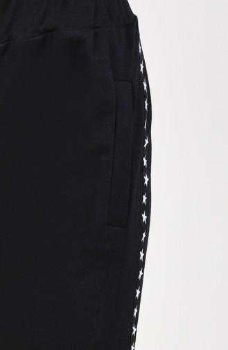 Şeritli Eşofman Altı 0024-01 Siyah