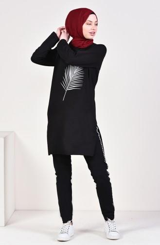 Şeritli Eşofman Altı 0026-01 Siyah