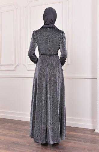 Kemer Detaylı Simli Abiye Elbise 3208-05 Gri