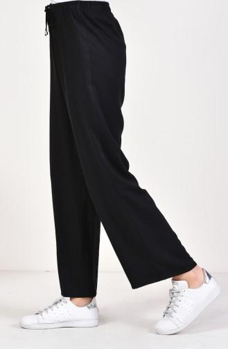 Waist Elastic linen Trousers 2086-02 Black 2086-02