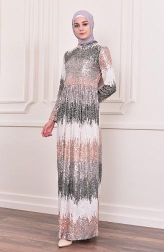 Sequined Evening Dress 81692-03 Rose Beige Black 81692-03