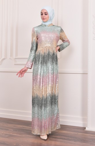 Sequined Evening Dress 81692-04 Green Pink 81692-04