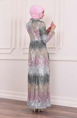 Sequined Evening Dress 81692-05 Gray Pink 81692-05