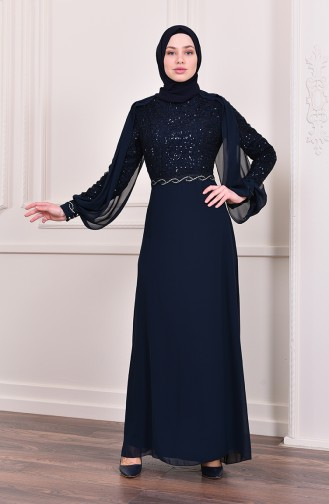 Cape Evening Dress 52736-07 Navy Blue 52736-07