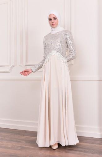 Sequin Detailed Evening Dress 52745-01 Beige 52745-01