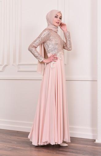 Sequin Detailed Evening Dress 52745-02 Salmon 52745-02