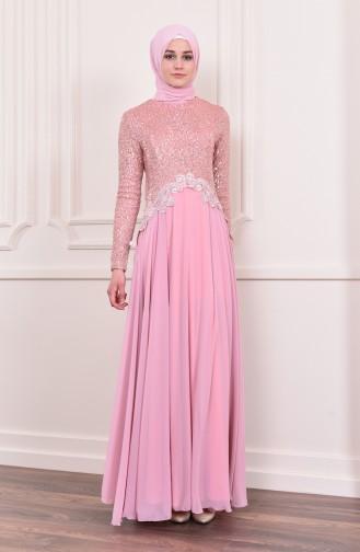 Sequin Detailed Evening Dress 52745-04 Powder 52745-04