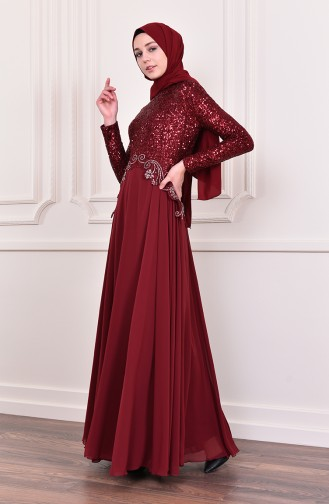 Sequin Detailed Evening Dress   52745-05 Claret Red 52745-05