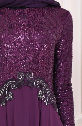 Sequin Detailed Evening Dress  52745-06 Purple 52745-06