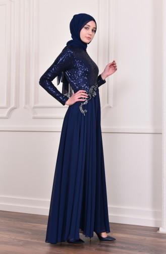 Payet Detaylı Abiye Elbise 52745-09 Lacivert 52745-09