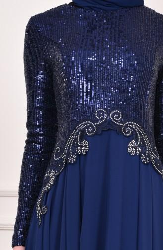 Sequin Detailed Evening Dress  52745-09 Navy Blue 52745-09