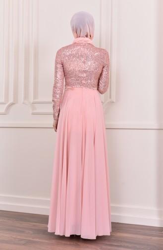 فستان سهرة بتفاصيل من الترتر اللامع 52746-02 لون وردي 52746-02
