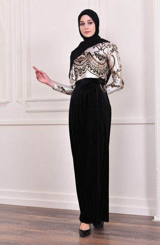 Jacquard Evening Dress 3015-01 Black 3015-01