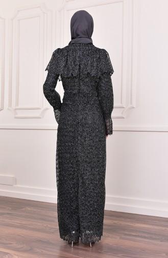 آلييرلي فستان سهرة بتصميم مُحاك بتفاصيل لامعة 9027-01 لون أسود 9027-01