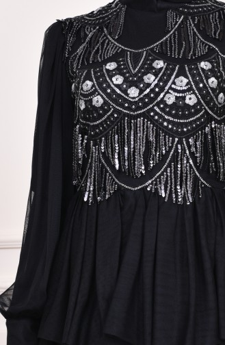 Sequin Tulle Evening Dress 1601-02 Black 1601-02