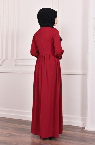 Sequin Evening Dress  5005-02 Claret Red 5005-02