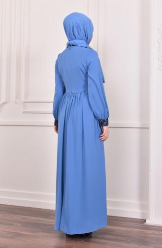 Pullu Abiye Elbise 5005-03 Mavi 5005-03