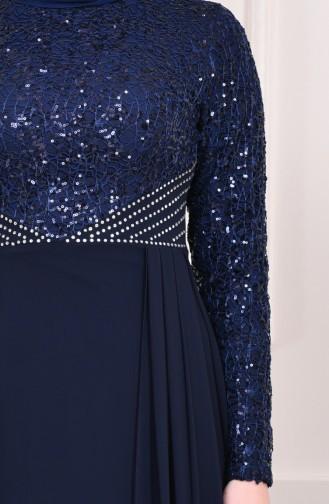 Sequin Evening Dress 3740-02 Navy Blue 3740-02