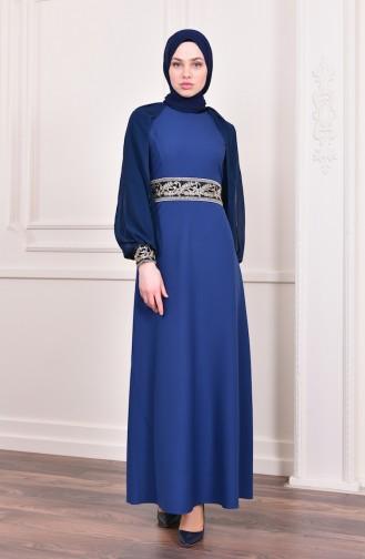 Sequin Evening Dress  4118-05 Indigo 4118-05