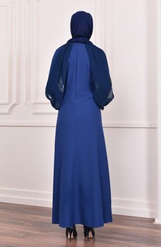 فستان سهرة بتفاصيل من الترتر اللامع  4118-05 لون نيلي 4118-05