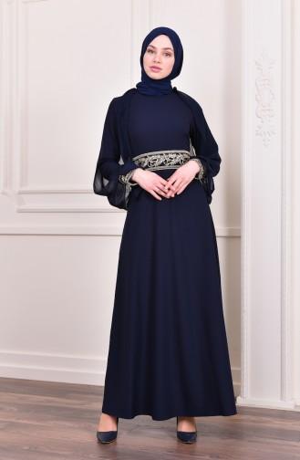Sequin Evening Dress 4118-06 Navy Blue 4118-06