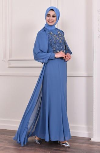 Beading Embroidered Evening Dress 3004-01 Indigo 3004-01