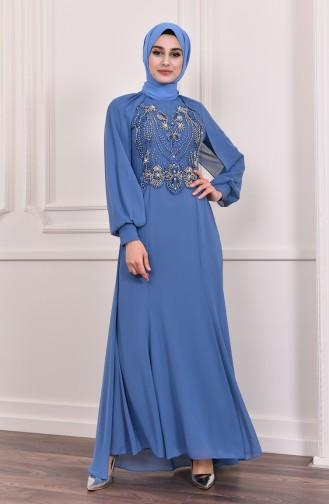 فستان سهرة بتفاصيل مُطرزة بالخرز 3004-01 لون نيلي 3004-01