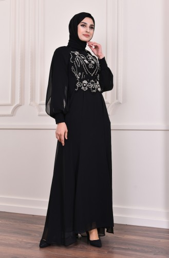 Beading Embroidered Evening Dress  3004-03 Black 3004-03